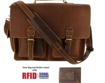 16 Inch Genuine Leather Laptop Briefcase Messenger Bag