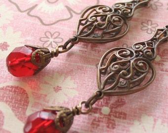 Red Drop Earrings, Vintage Syle Red Earrings, Art Nouveau Earrings,