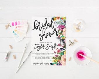 Watercolor Colorful Bridal shower Party Invitation Hen's Night Invitation Floral Boho Bridal shower Bohemian Bachelorette Invitation