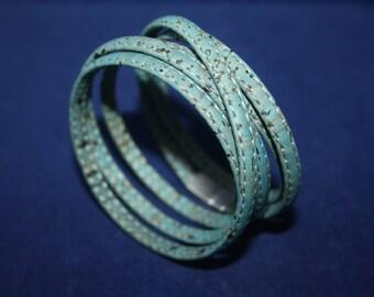 Cork bracelet oceanblue 5 mm wrapped five times