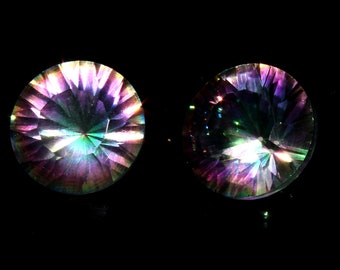 2 Pieces Pair AAA+ Natural Multi Color Mystic Topaz Faceted Round Loose Gemstone, Top Quality Mystic Topaz Concave Cut Gemstone, 12x12 mm