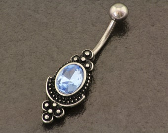 Unique Belly Button Ring. Tribal Belly Piercing. Bohemian Silver Navel Jewelry. Hippie Body Jewellery Summer Boho Piercing Blue Belly Bar