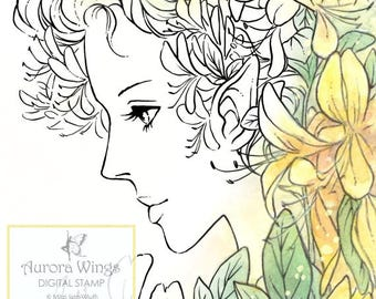 Digi - Digital Stamp - Honeysuckle Fairy - Elf in Profile with Flowers - Fantasy Line Art for Cards & Crafts by Mitzi Sato-Wiuff
