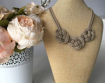 Nautical necklace-Beige rope necklace- Statement necklace- Knot Necklace- Bib necklace- Rope jewelry- Rope necklace- Christmas gift for her