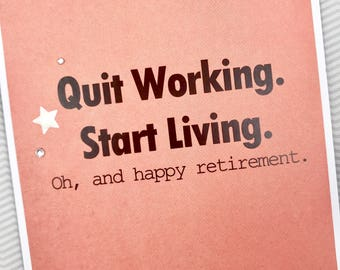 Quit Working Retire card