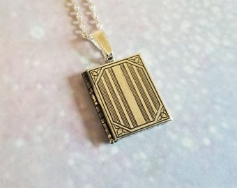 """Vintage Finished Sterling Silver-Plated Book Photo Locket or Necklace, 1"""" x 3/4""""   - """"Quinn"""""""