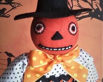 Eek ~ OOAK ~ Primitive ~ Folk Art ~ Pumpkin Witch ~ Halloween Doll