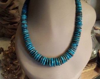 Natural turquoise large flat beaded necklace