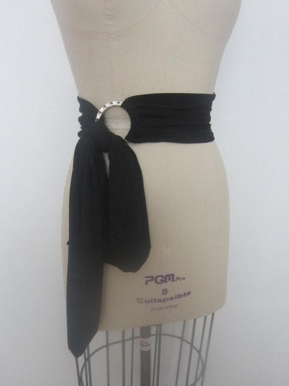 Tie Belt Women Black Belt Wide Wrap Belt Tie Sash With Ring