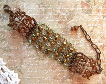Chocolate Ox Filigree, Multi Chain Filigree, Brown&Seafoam, Multi Chain Bracelet, Green and Gold, Choxie Adjustable, Rosary Chain Filigree