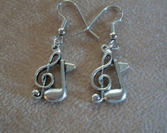 Music Notes Earrings, Clef Note & 8th Note Earrings, Silver or Silver with gold earwires, by Brendas Beading on Etsy