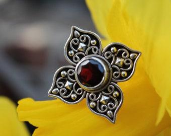Indian Silver Garnet ring