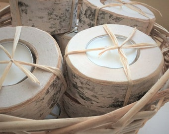 Birch Tealight Candle Holder (20ct.)- With Hand Wood Burned Tag - tealight holder - tealight centerpiece - wedding favor - rustic