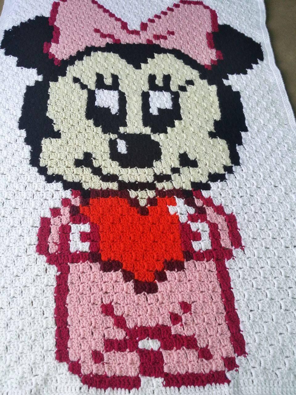 Häkeln Sie Minnie Maus-Baby-Decke Babydecke