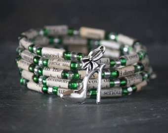 The Devil Wears Prada, wrap bracelet, charm bracelet, memory wire bracelet, spiral bracelet, recycled book, book page, book lover gift