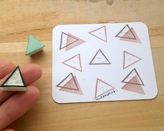 Tiny triangle stamps set of 2, geometric stamp, pattern stamps, handmade stamp, simplicity, perfect for scrapbooking and card decoration