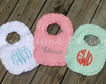 Monogrammed Bibs- Set of 3    Monogrammed Bibs with Ruffles, Cotton Bibs with monogram