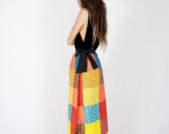 60's Patchwork Hand Made Skirt // full skirt, maxi, patchwork, boho skirt, floral, floor length, boho bohemian, hippie hippy