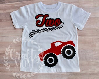 Personalized Boy's Monster Truck Two Year Old Shirt Birthday Shirt