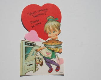 Vintage Cute Girl Cooking a Pie Valentine Card, UNUSED Collectible Sweetheart Cook Chef Valentine Day Card