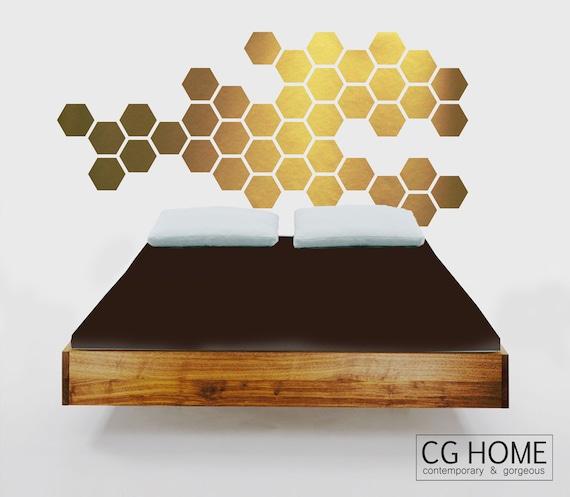 gold HEXAGON geometric GOLDEN honeycomb WALL decal vinyl at home sticker
