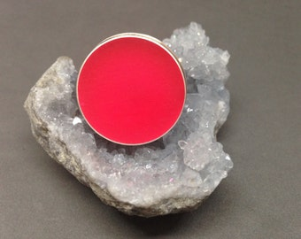 Neon pink ring sterling silver and resin ring neon pink resin ring statement ring large ring big ring giant ring pink ring silver and pink