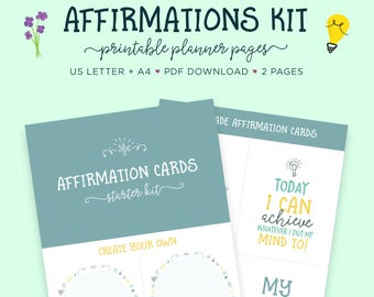 Affirmations, Self Help, Affirmation Cards, Printable Worksheet, Positive Vibes, Mindfulness, Printable Planner, Self Care, Mental Health