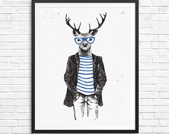 Vintage hand drawn deer in hipster clothes - Instant download 16x20 and 8x10 - watercolor Print Wall Decor black and blue