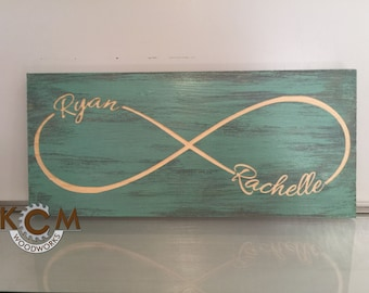 CUSTOM Name Infinity Art Sign - Hand painted, Rustic Wood Sign, Distressed Sign, Home Wall Decor, Wood Stain Sign