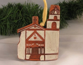 Terra Cotta Ornaments San Buenaventura California Mission Church Handmade Clay Christmas Tree Ornament Ceramic Art Historical Gifts