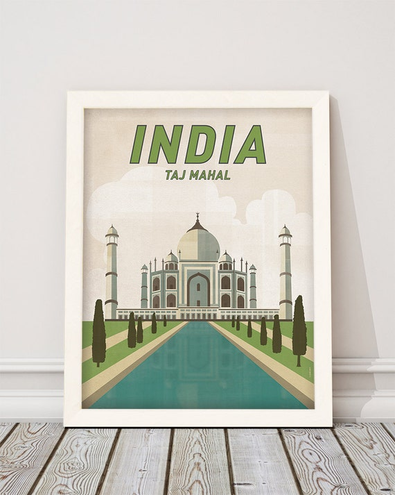 Taj Mahal. India. Wall decor art. Poster. Illustration. Digital print. Cities. Travel.