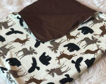 Woodland Creatures Flannel Baby Blanket