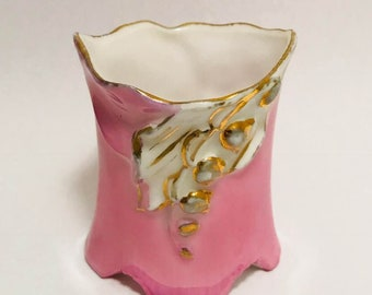 Vintage Porcelain Pink and Gold Tooth Pick Holder