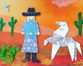 Southwest, Desert, Silver Steed, Cowgirl, By Mary Ellen Palmeri (Matted Print)