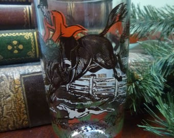 Hazel Atlas Fox and Hound Hunting Water Glass, Hunting Scene Water Glass  12 Oz   (T)