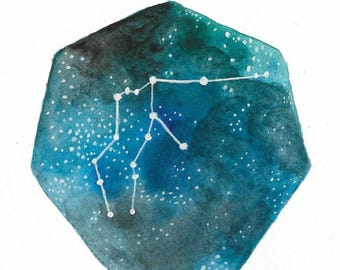 """Small 5x7 zodiac constellation heptagon watercolor painting of """"Aquarius"""" by Mary Thompson © 2017."""