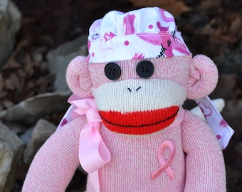 Breast Cancer Sock Monkey, Breast Cancer Awareness Month, Pink Ribbon