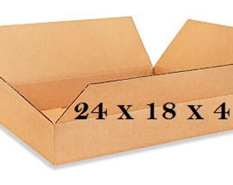 20 -  Cardboard Boxes 24x18x4 - Long Corrugated Boxes are Good for Storage, Shipping, Moving, Packing - Wholesale Prices - FREE SHIPPING!
