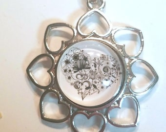 Heart Pendant Necklace w/Matching Snap/Chunk/Button (Noosa, Ginger Snaps, etc)