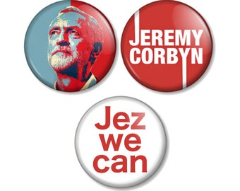 """Jeremy Corbyn 25mm / 1"""" (1 inch) Pin Button Badges Labour Party Leader Political For The Many Not The Few Jez We Can Vote Elections Jezza"""
