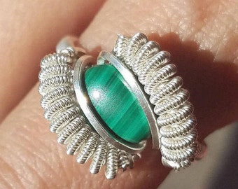 Healing Natural Malachite Gemstone Sterling Silver Handmade Wire Wrapped Ring Size 8 by Jwadesign WP44