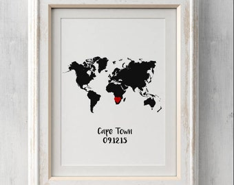 Special Memorable Places and Dates Custom Bespoke Print