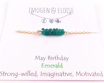 Emerald Bracelet, Personalized Birthstone Bracelet, May Birthstone Bracelet, Emerald Gemstone Bracelet, Gift for her, Layering Bracelet
