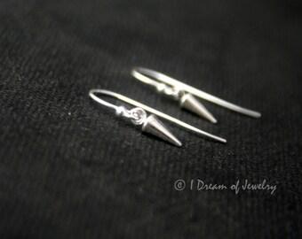 Tiny sterling silver earrings- spike, hook or leverback
