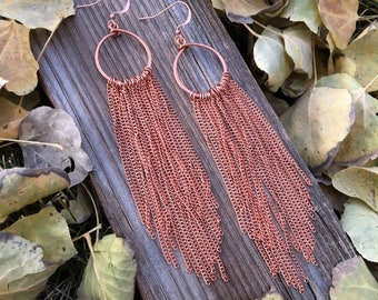 copper chain fringe boho long duster dangle earrings