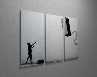 "Banksy Refrigerator Kite Gallery Wrapped Canvas Triptych Print 48"" x 30"""