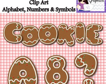 Gingerbread Christmas Cookie Clip Art Alphabet Numbers Symbols 88 Digital Elements Cookie Party