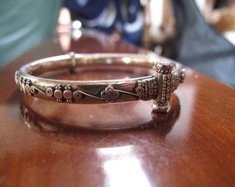 Silver Sterling Bracelet, Tribal Bracelet, Ethnic Bracelet, Silver Bracelet, Tribal silver bracelet, Bangle, tribal silver antique style