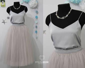 42 Mist Grey Tulle Skirt + Top Set, Women Grey Skirt Bridal, Grey Women Tulle Skirt, Grey Princess Skirt, Wedding Grey Bridesmaid Dress