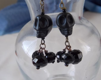 Skull Earring Black Skull Earrings E57